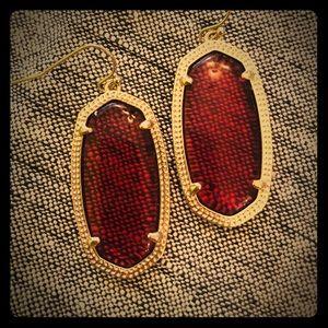 Kendra Scott Elle red gold drop earrings